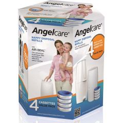 Angelcare AC9004 Nappy Disposal System - 4pack Refil Cassettes