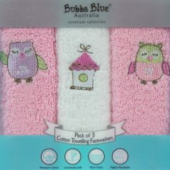 Bubba Blue Girl Baby Owl 3pk Face Washers