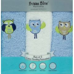 Bubba Blue Boy Baby Owl Face Washers